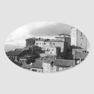 Panorama of Volterra village, province of Pisa Oval Sticker