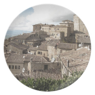 Panorama of Volterra village, province of Pisa Plate