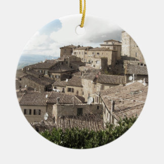 Panorama of Volterra village, province of Pisa Round Ceramic Ornament
