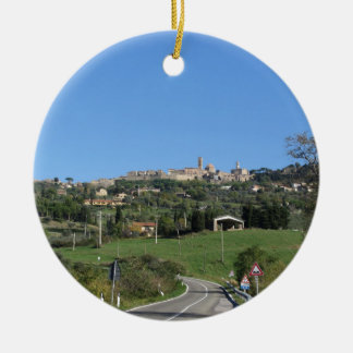 Panorama of Volterra village, province of Pisa Round Ceramic Ornament