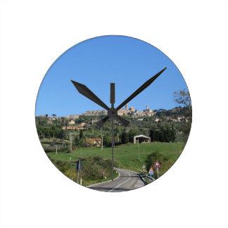 Panorama of Volterra village, province of Pisa Round Clock