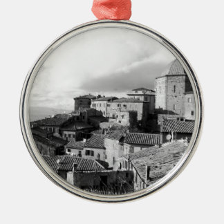 Panorama of Volterra village, province of Pisa Silver-Colored Round Ornament