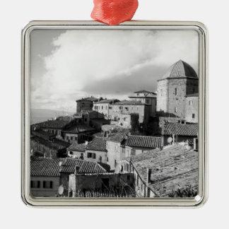 Panorama of Volterra village, province of Pisa Silver-Colored Square Ornament