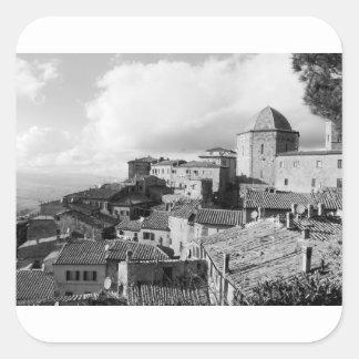 Panorama of Volterra village, province of Pisa Square Sticker