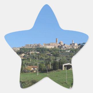 Panorama of Volterra village, province of Pisa Star Sticker
