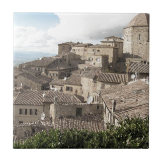 Panorama of Volterra village, province of Pisa Tile