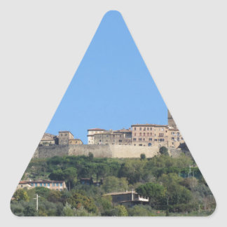 Panorama of Volterra village, province of Pisa Triangle Sticker