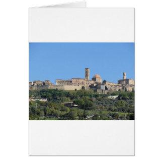 Panorama of Volterra village . Tuscany, Italy Card