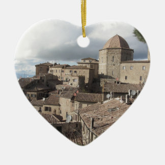 Panorama of Volterra village, Tuscany, Italy Ceramic Heart Ornament