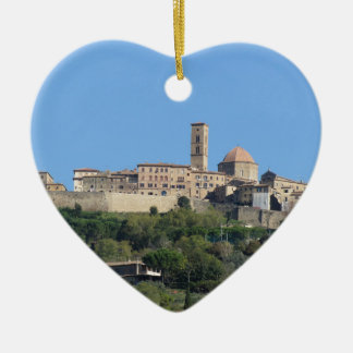 Panorama of Volterra village . Tuscany, Italy Ceramic Heart Ornament