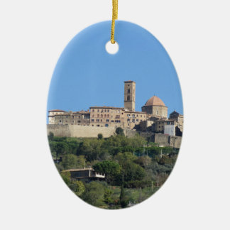 Panorama of Volterra village . Tuscany, Italy Ceramic Oval Ornament