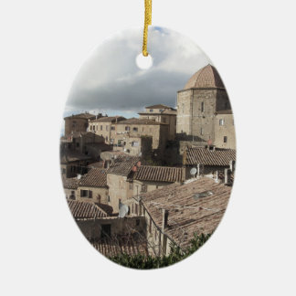 Panorama of Volterra village, Tuscany, Italy Ceramic Oval Ornament