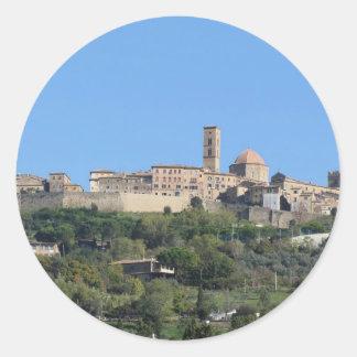 Panorama of Volterra village, Tuscany, Italy Classic Round Sticker