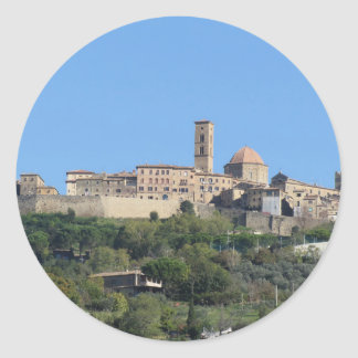 Panorama of Volterra village . Tuscany, Italy Classic Round Sticker