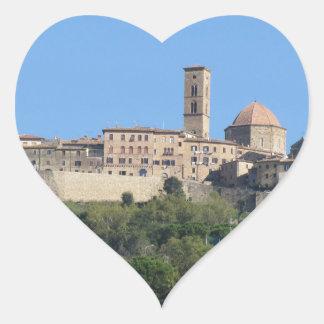 Panorama of Volterra village . Tuscany, Italy Heart Sticker