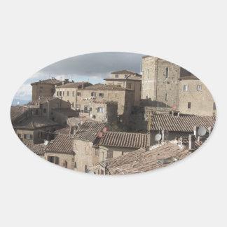 Panorama of Volterra village, Tuscany, Italy Oval Sticker