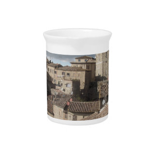 Panorama of Volterra village, Tuscany, Italy Pitcher