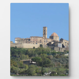 Panorama of Volterra village . Tuscany, Italy Plaque