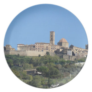 Panorama of Volterra village . Tuscany, Italy Plate