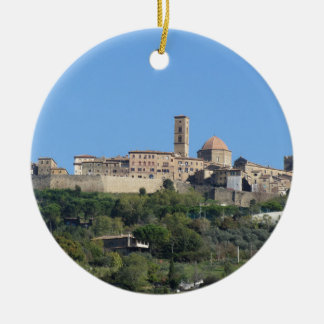 Panorama of Volterra village . Tuscany, Italy Round Ceramic Ornament