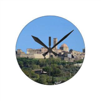 Panorama of Volterra village . Tuscany, Italy Round Clock