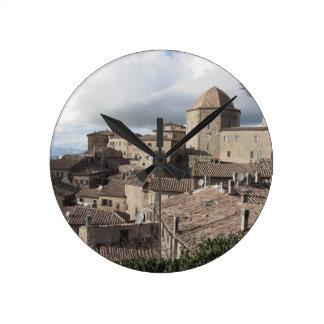 Panorama of Volterra village, Tuscany, Italy Round Clock