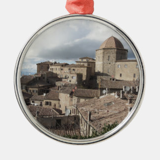 Panorama of Volterra village, Tuscany, Italy Silver-Colored Round Ornament