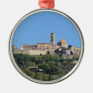 Panorama of Volterra village . Tuscany, Italy Silver-Colored Round Ornament