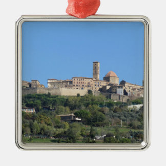Panorama of Volterra village, Tuscany, Italy Silver-Colored Square Ornament
