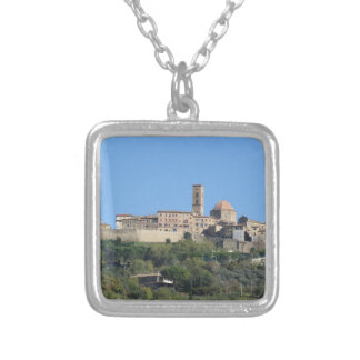 Panorama of Volterra village . Tuscany, Italy Silver Plated Necklace