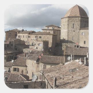 Panorama of Volterra village, Tuscany, Italy Square Sticker