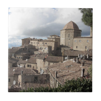 Panorama of Volterra village, Tuscany, Italy Tile