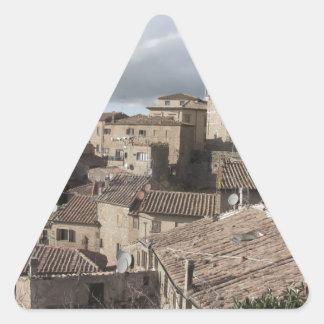 Panorama of Volterra village, Tuscany, Italy Triangle Sticker