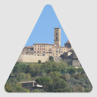 Panorama of Volterra village . Tuscany, Italy Triangle Sticker