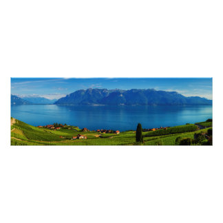 Panorama on Lavaux region, Vaud, Switzerland Poster
