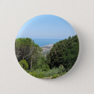 Panoramic aerial view of Livorno city 2 Inch Round Button