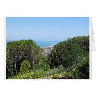 Panoramic aerial view of Livorno city Card