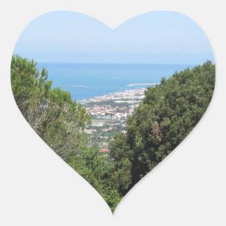 Panoramic aerial view of Livorno city Heart Sticker
