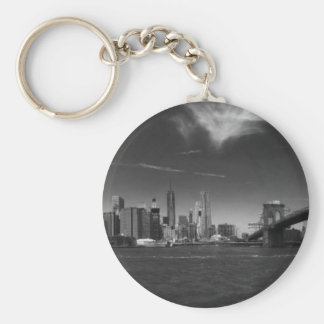 Panoramic Black White Brooklyn Basic Round Button Keychain