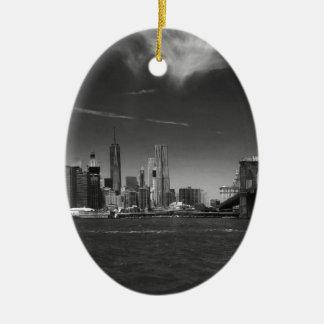 Panoramic Black White Brooklyn Ceramic Oval Ornament