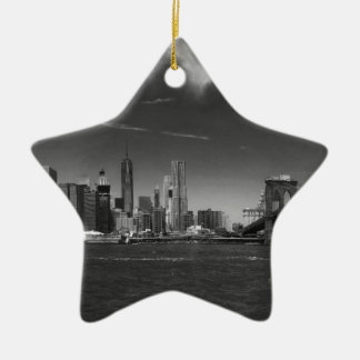 Panoramic Black White Brooklyn Ceramic Star Ornament