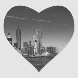 Panoramic Black White Brooklyn Heart Sticker