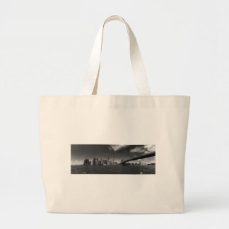 Panoramic Black White Brooklyn Large Tote Bag