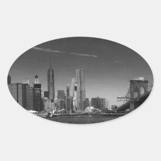 Panoramic Black White Brooklyn Oval Sticker