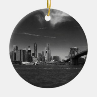 Panoramic Black White Brooklyn Round Ceramic Ornament