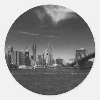 Panoramic Black White Brooklyn Round Sticker
