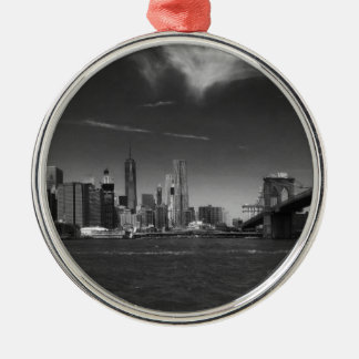 Panoramic Black White Brooklyn Silver-Colored Round Ornament
