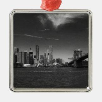 Panoramic Black White Brooklyn Silver-Colored Square Ornament