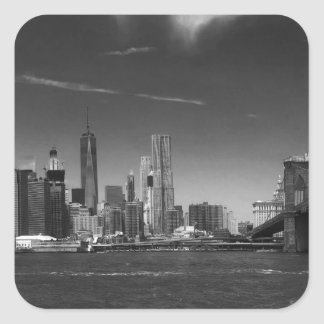 Panoramic Black White Brooklyn Square Sticker