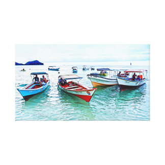 "Panoramic Fisher boats (""peñeros"") in Mochicha Canvas Print"